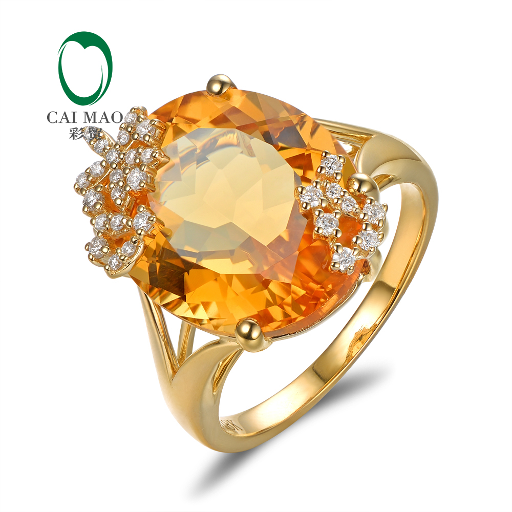 CaiMao 14K Yellow Gold 10.19ct Natural Citrine 0.18ct Pave Diamond Engagement Ring Free Shipping