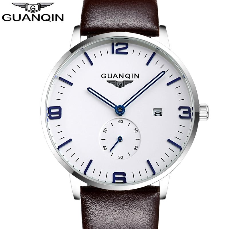 где купить Mens Watches Top Brand Luxury GUANQIN 2016 Watch Men Sport Luminous Ultra Thin Quartz Watch Leather Wristwatch relogio masculino по лучшей цене