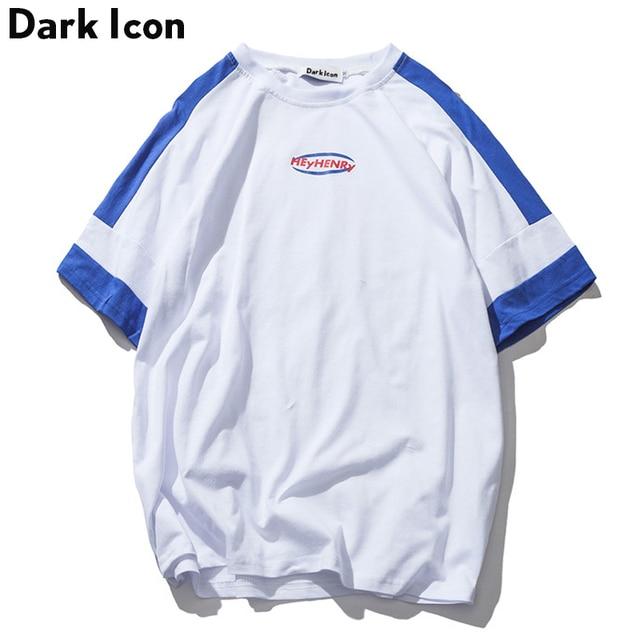 Color Block Patchwork Solto Estilo T-shirt Dos Homens Camiseta de Algodão  das Mulheres 2018 6f81f946da0