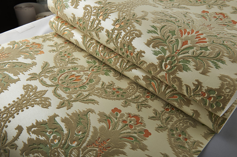Colored Vintage Velvet Flocking Damask Wallpaper French Renaissance Decor Wallcovering купить недорого в Москве