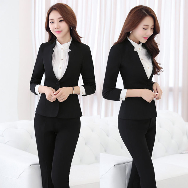 New Professional 2016 Autumn Winter Formal Uniform Design Business Work Suits With Jackets + Pants Ladies Trousers Set Pantsuits