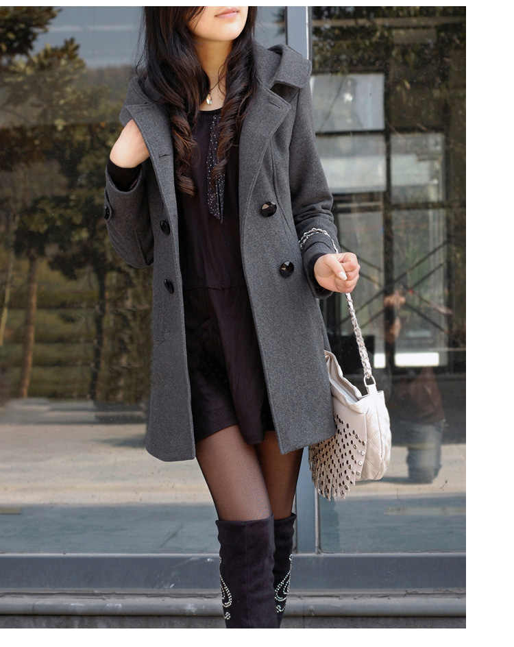 Casual Fashion Jacket Winter Casaco Feminino Middle Long Double Breasted Hooded Slim Coat Jacket Women Coat Outside Overcoat