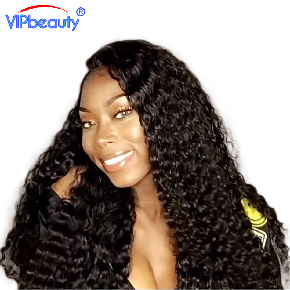 Vip Beauty Pre Plucked 130% Density Malaysian curly hair Lace Front Human Hair Wigs For Women Remy hair curly lace front wig 1b
