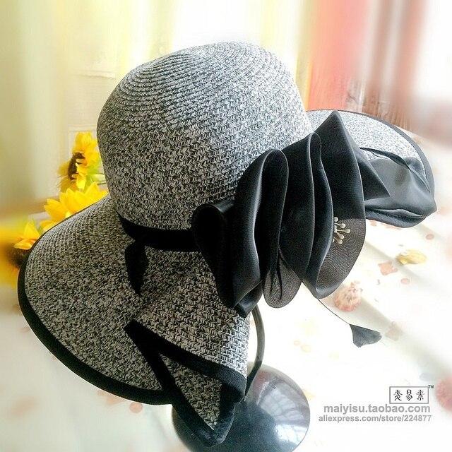 fashion summer straw hat Feather Chapeau Femme Flower beach wide brim folding sun hat  for woman