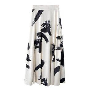 Image 5 - Twotwinstyleプリント分割スカートの女性のハイウエスト弾性大サイズxロングエレガントなスカート女性2020春夏の潮服
