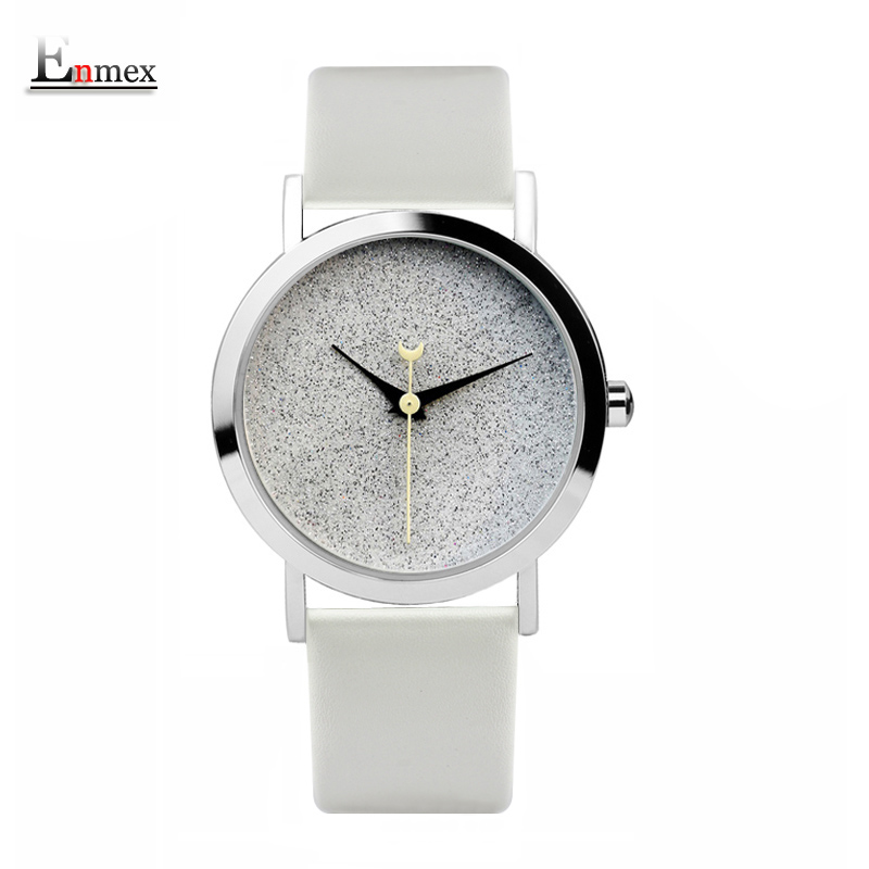 Ladies gift new style watch Enmex creative design starlight in the night sky simple face leather band quartz fashion wristwatch 2017lady gift enmex design silicone strap creative changing patterns dail japanese style simple quietly elegant quartz watches