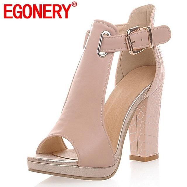 EGONERY delle donne 2019 di estate sexy dei sandali di modo delle signore peep toe tacchi alti 3 di colore della piattaforma scarpe donna T-Strap scarpe sandali