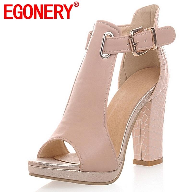 EGONERY women 2018 summer fashion sandals sexy peep toe ladies high heels 3 color platform shoes woman T-Strap shoes sandals