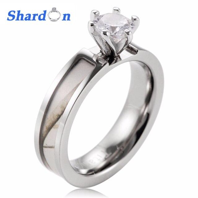 SHARDON Women White Camo Engagement Ring Titanium White Snow Tree Engagement  Wedding Band 6 Prong Setting