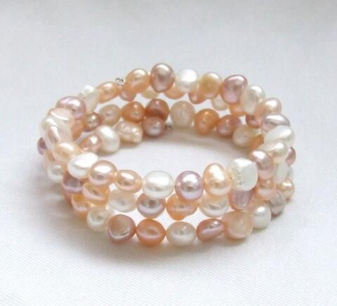 NEW mixed color baroque genuine nature freshwater pearl bracelet 6-7MM>>> women jewerly Free shipping