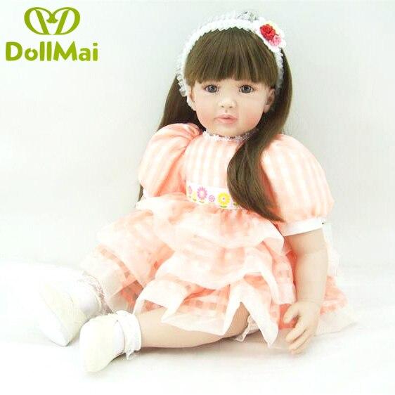 60 cm 24 pouces bebe en vie adorable vinyle nouveau-né princesse Bébés Reborn Silicone Poupées lol d'origine En Bas Âge enfants De Noël d'anniversaire cadeau
