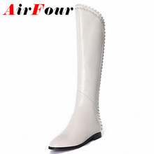Airfour Black White Shoes Woman Autumn Spring Fashion Ladies Laciness Knee High Boots Women's Boots Flats Motorcycle Boots