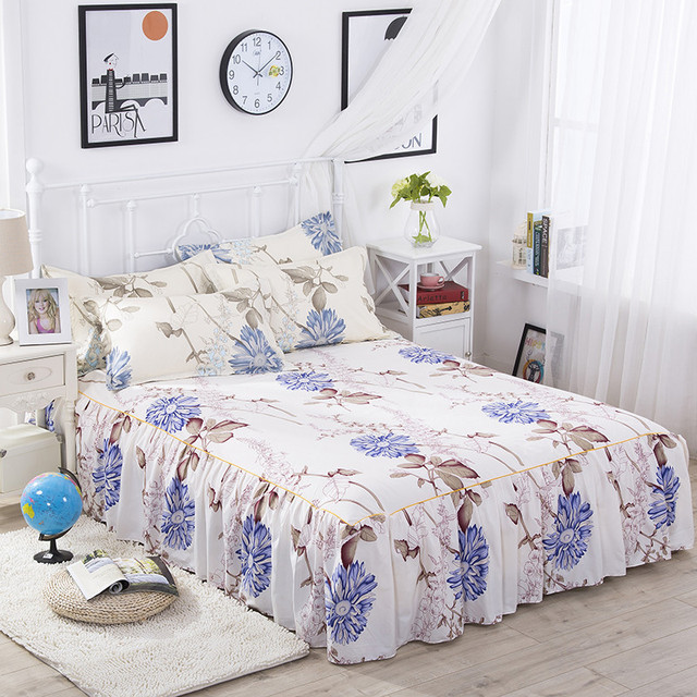 Bedskrit Elastic Ed Sheet Flower Printed Bed Cover Pillowcase Mattress Bedclothes Bedspreads Cushion 3pcs