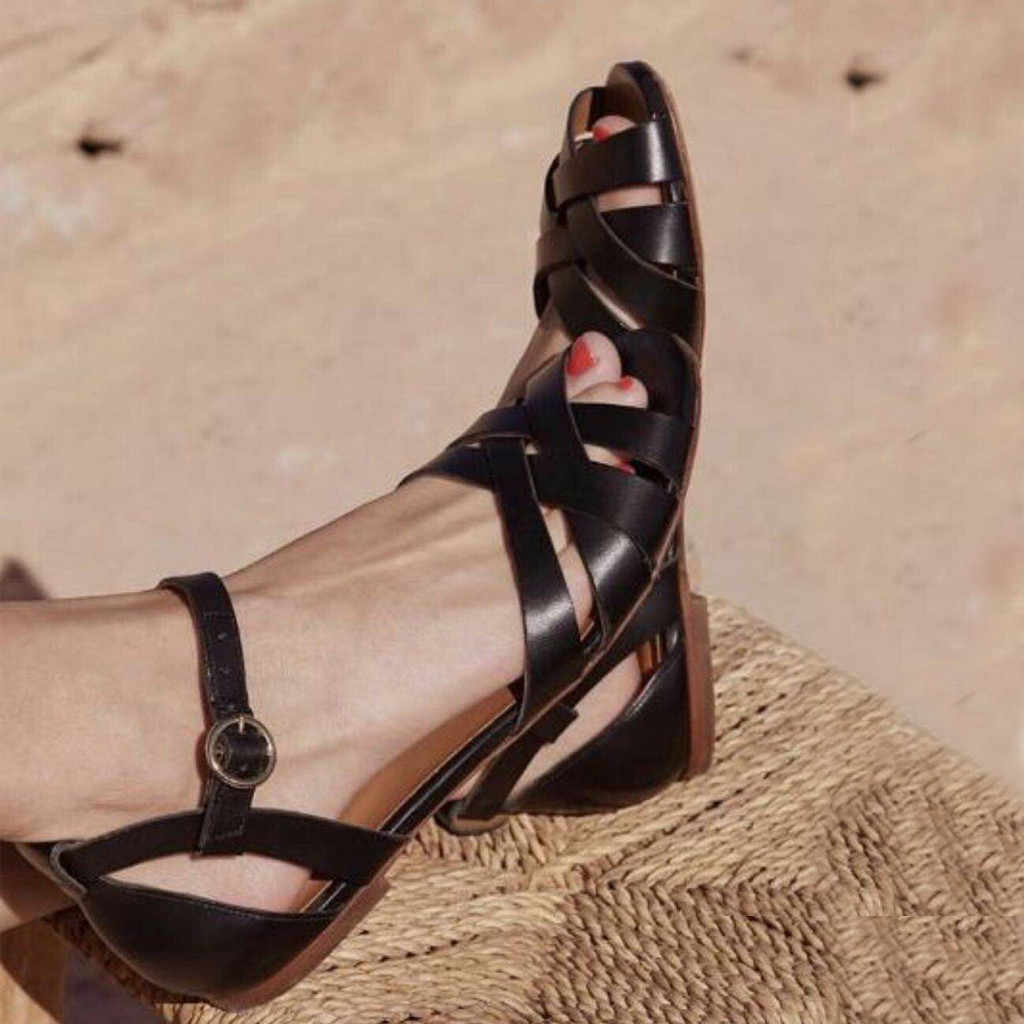 נשים של נעליים יומיומיות קיץ דגי פה פתוחים מלפנים סנדלי קרסול רצועת חגורת אבזם שטוח רך תחתון רומי סנדל zapatos דה mujer