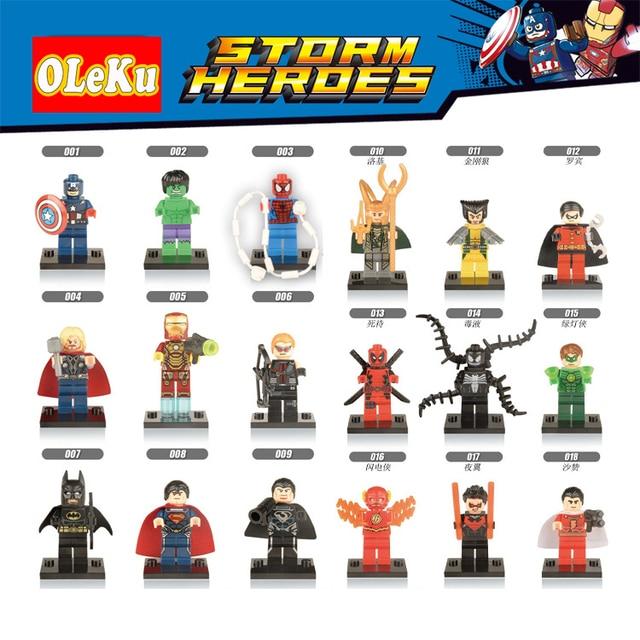Clássico legoing Figuras de Super Heróis Marvel Avengers Justice X-Men flash spiderman Blocos Tijolos de Construção Batman homem de ferro Brinquedos