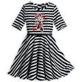 ROCOO atacado 5 pçs/lote Minnie Mouse Listrado Vestidos De Malha para Meninas (3-12yrs), minnie mouse vestido para as meninas