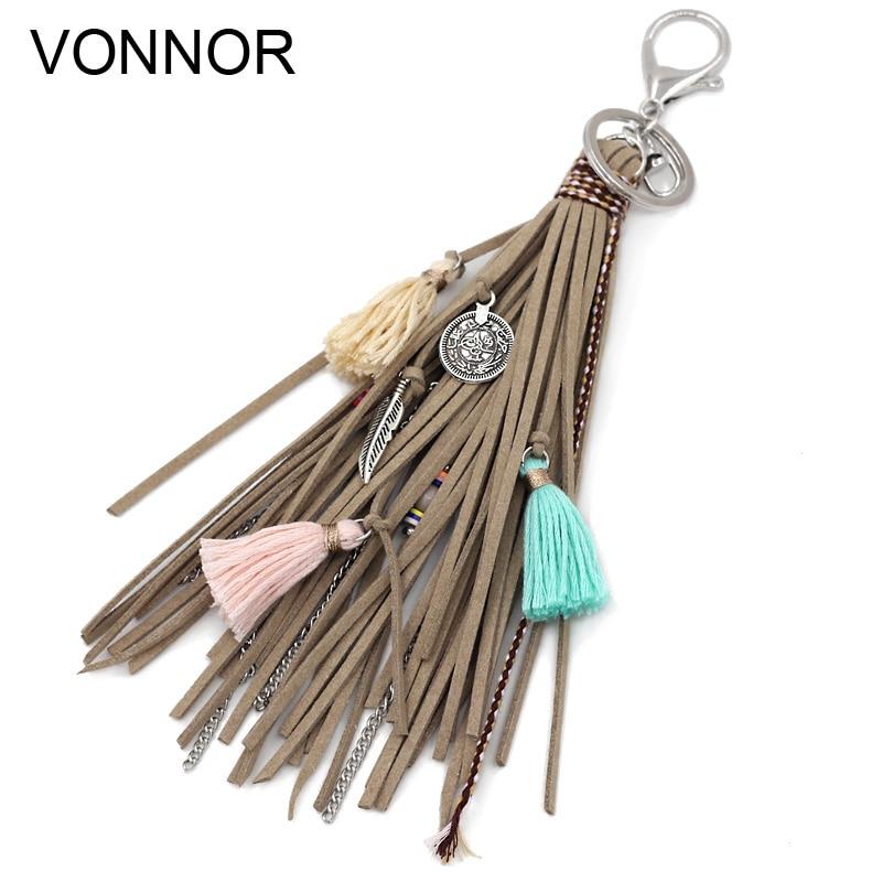 VONNOR Jewelry Keychain Multi-layer Velvet Rope Chain Alloy Tassel Pendant Charm Key Chains Bohemian Accessories For Women Girl