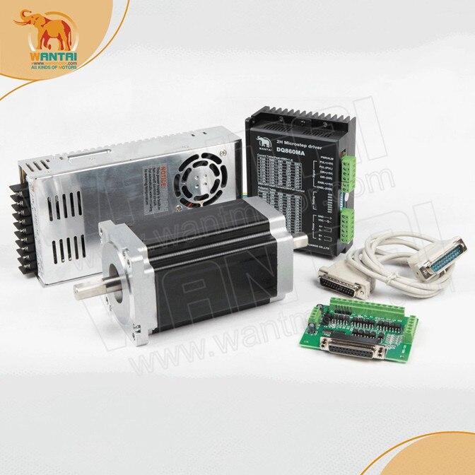 цена на Ship From DE! Wantai 1 Axis Nema34 stepper Motor 85BYGH450C-012B Dual Shaft 1600oz-in 3.5A+Driver DQ860MA 7.8A 80V CNC Router