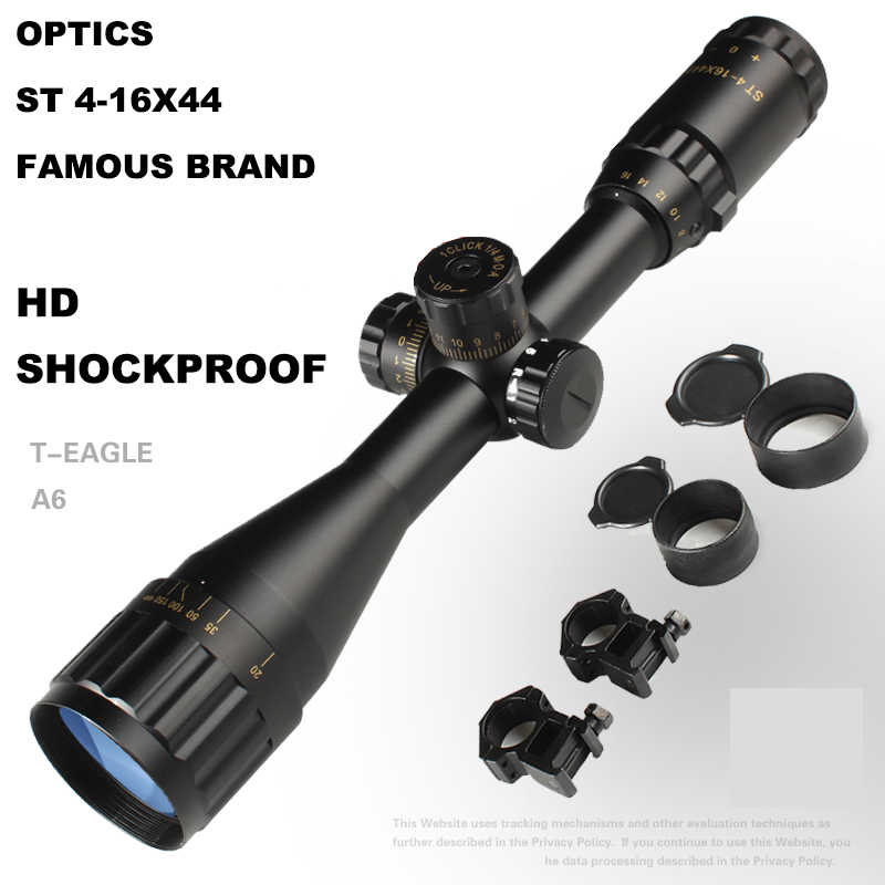 Mira óptica de la nueva marca caliente 4-16X44, visor de Alcance del alcance del visor, mira de caza, punto rojo, mira de rifle óptica de caza