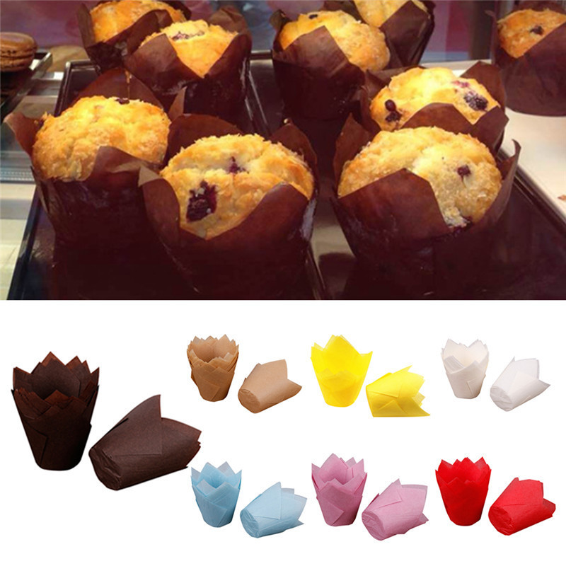 50Pcs Disposable DIY Cupcake Liners Paper Cake Baking Cup Cups Muffin Cases Weeding Party Cake Cases Wraps Chocolate Brown ...