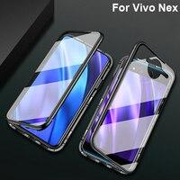 Magnetic Adsorption Metal Case For Vivo Nex Phone Cases Magneto Tempered Glass Cover For Vivo Nex VivoNex V1821A Case shell