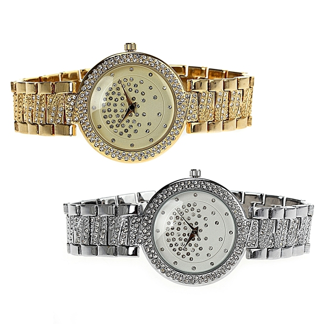 Waterproof Crystal Decorated Watch