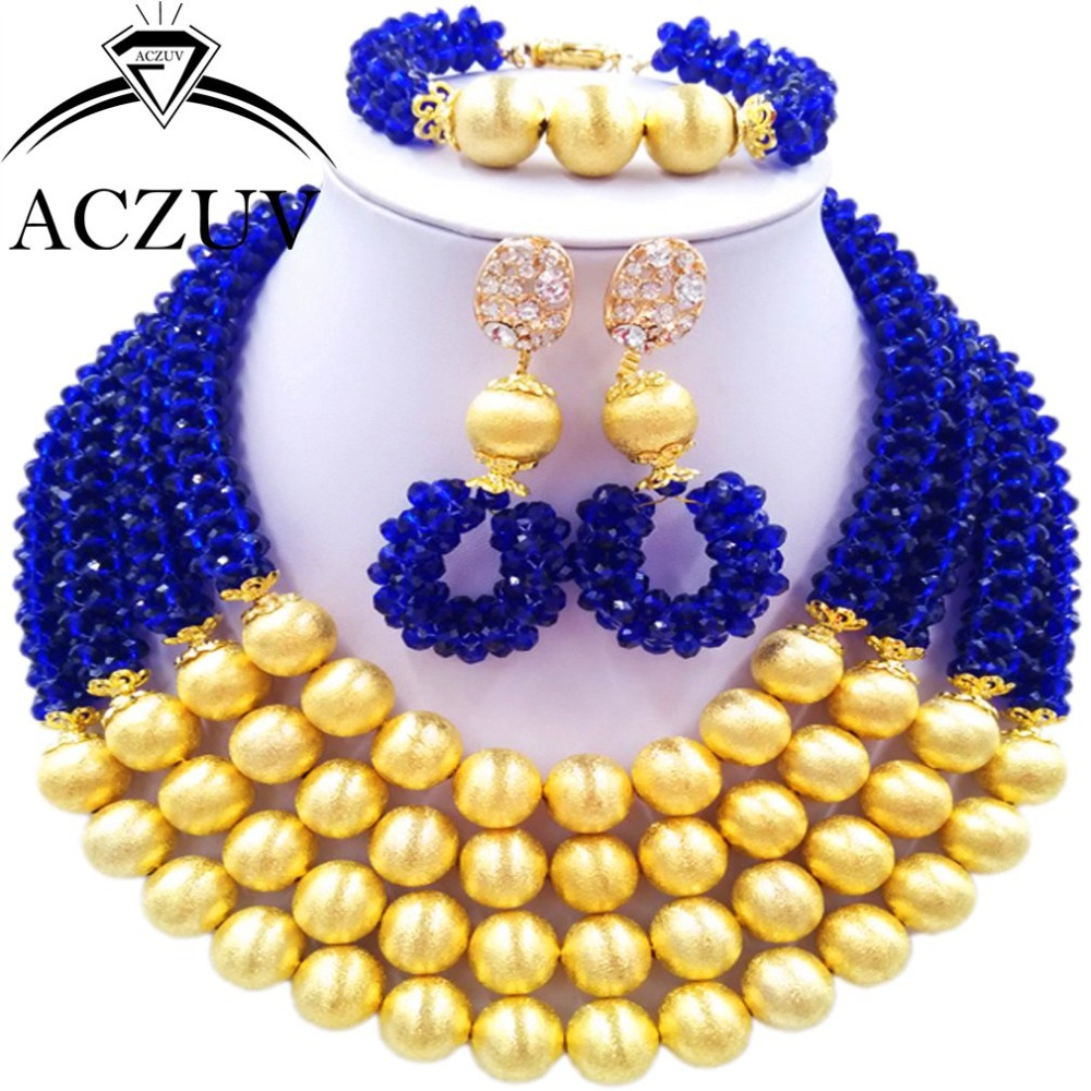 Brand ACZUV Nigerian Wedding African Beads Jewelry Set Crystal Royal Blue and Gold Color Ball Bridal Necklace Dubai AN062Brand ACZUV Nigerian Wedding African Beads Jewelry Set Crystal Royal Blue and Gold Color Ball Bridal Necklace Dubai AN062