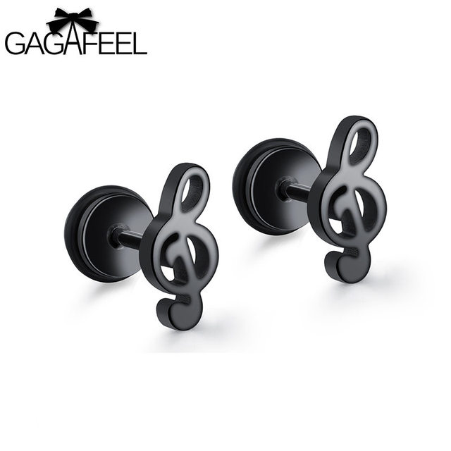 Gagafeel Music Note Stud Earrings Men Women Jewelry Stainless Steel Earring Black Gold Color Punk Rock