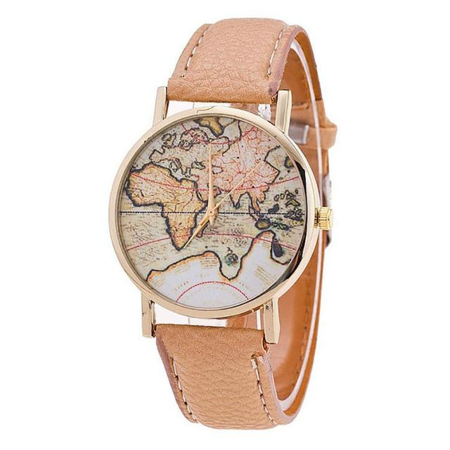 Fashion Women's World Map Leather Watches Fashion Women Wristwatch Casual Luxury