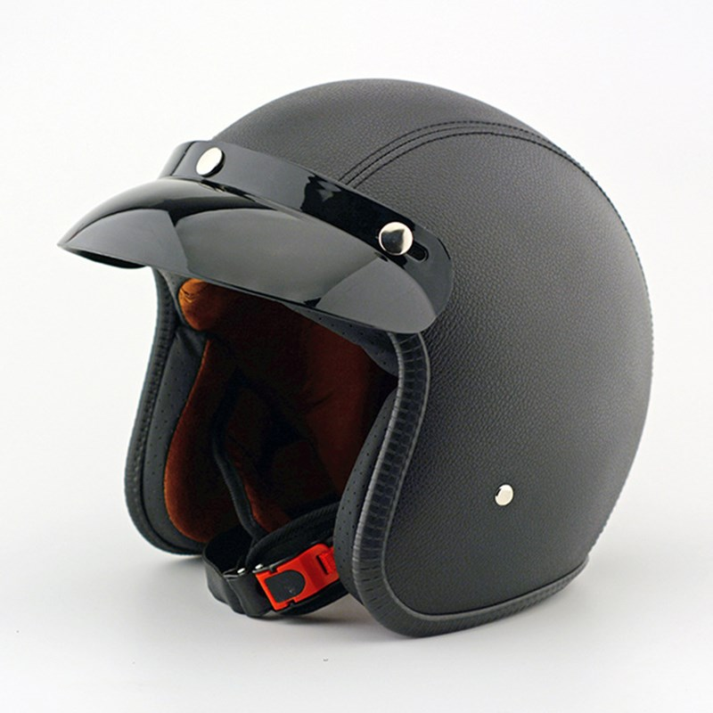 EE support New Quality Leather Motorcycle font b Helmet b font Retro Motocross Motos font b