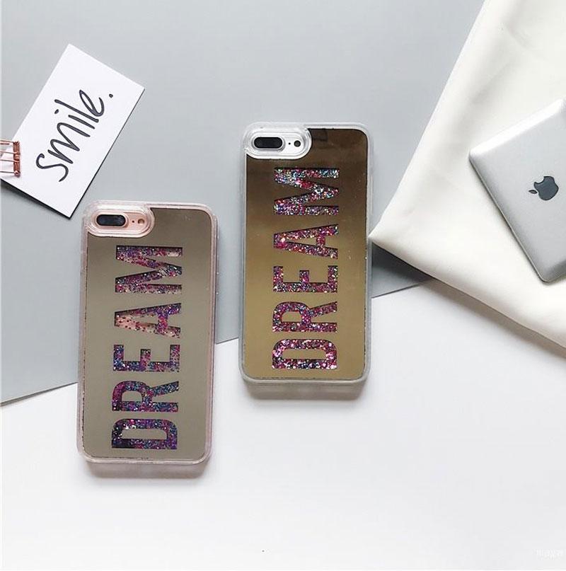 Fashion Letter Dearm Mirror Bling Dynamic Liquid phone case For iPhone X 6 6S Plus 7 8 Plus Glitter Quicksand PC+TPU Back Cover