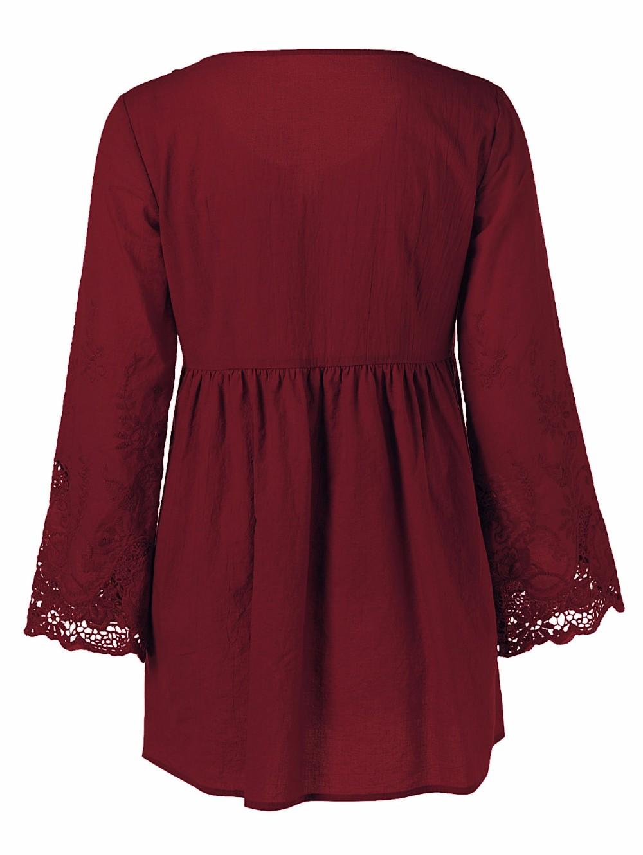 HTB1LHI7OXXXXXXTXpXXq6xXFXXXd - Gamiss Plus Size 5XL Female Blusa Retro Spring Autumn Lace Floral