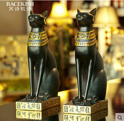 Houseware Desktop Cat Ornaments Egyptian Cat God Creative Home Decorations  Living Room Den Resin Jewelry Gifts