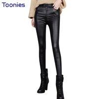 2017 Autumn Skinny PU Leather Pants Legging Women Trousers Plus Size Slim Stretch Thin Black Faux