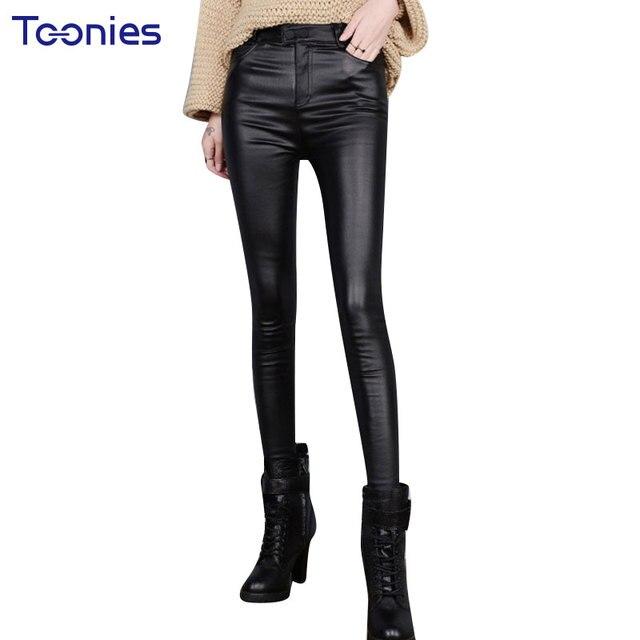 2017 Autumn Skinny PU Leather Pants Legging Women Trousers Plus Size Slim Stretch Thin Black Faux Leather Pencil Pants Pantalone