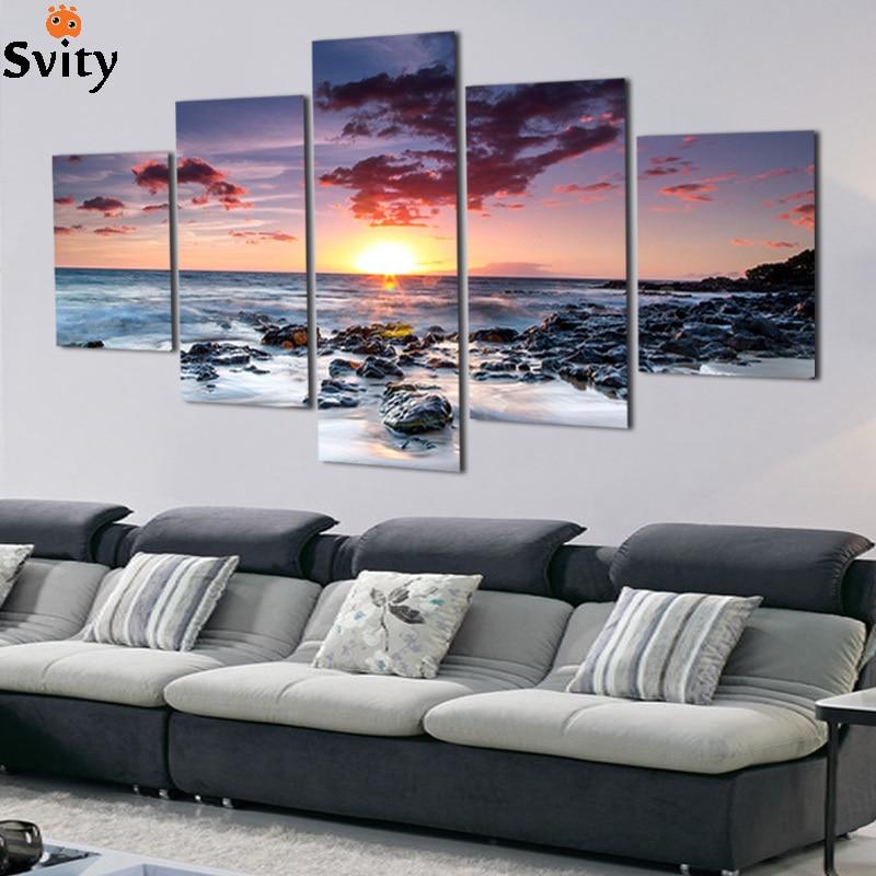 Keret nélküli 5 darab a sárga tenger és a lenyugvó nap Modern otthoni fali dekoráció vászon Képművészet HD nyomtatás Festmény vászonművészeti alkotásokon