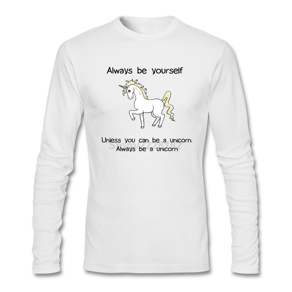Homme court accueil t-shirts éditeur toujours être vous-même hauts avec licorne homme à la mode chaud manches complètes t-shirts