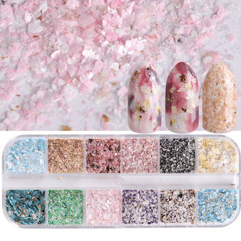 1 Case Mixed 12 Color Irregular Paillette Nail Art Sequins Colorful Flake Glitter Shell for Nail Decoration Grid DIY Tools TR546