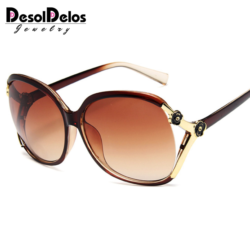 2019 Retro Oversized Oval Sunglasses Women Luxury Brand Classic Vintage Camellia Ladies Glasses Shades goggles Oculos UV400 in Women 39 s Sunglasses from Apparel Accessories