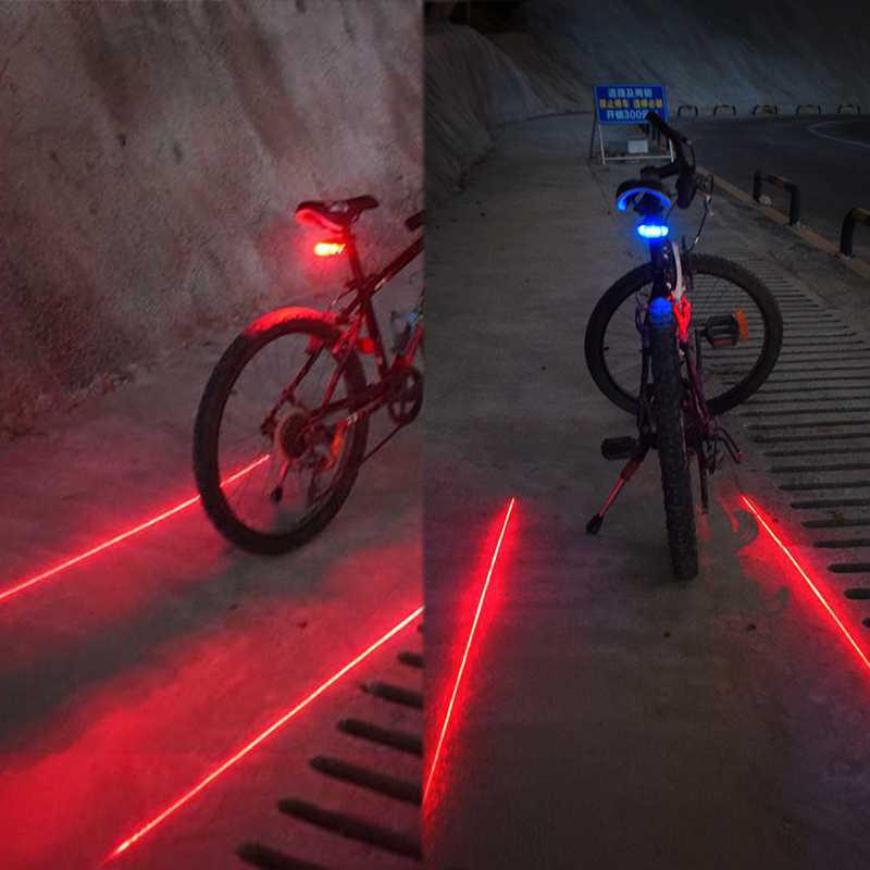 Велосипедные фары Водонепроницаемый 5 светодиодный 2 лазеры 3 режимы для велосипеда задний катафот свет велосипедный задний фонарь
