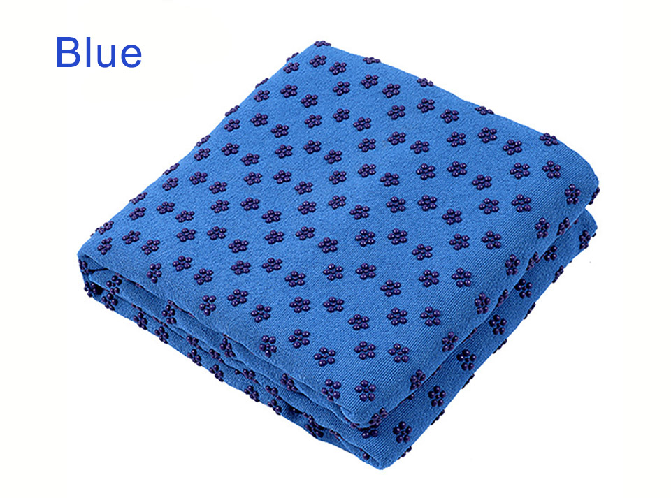 Photo of blue color Yoga mat towel of microfiber & bag. Workout ultrafiber towel mat & mesh bag