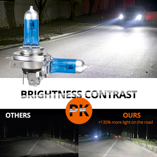 VooVoo Car Light H4 H7 Auto Halogen Lamps Bulb Fog Lights 100W 2700K 4300K 6000K 12V Motercycle Car Halogen Bulb Ampoule Voiture
