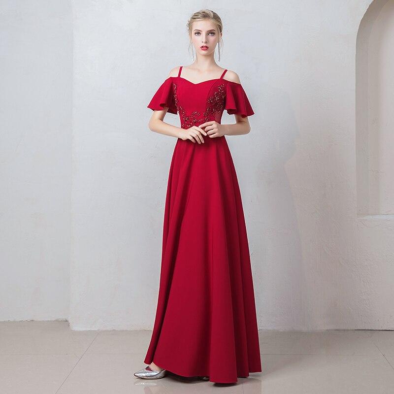 Burgund Satin Prom Kleider Spaghetti Strap Gala Jurken Boot ausschnitt Vestido De Festa Kurzarm Prom Kleid Frauen Abendkleid - 2