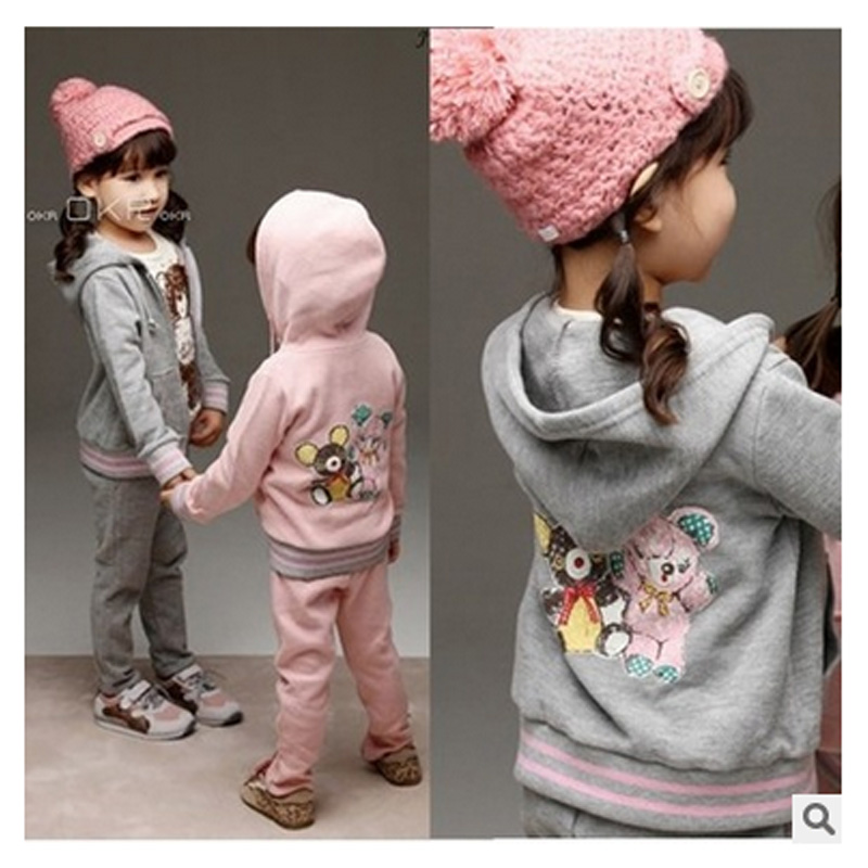 2016 Spring Baby Girls Clothes Jacket bears Kids Hoodies+Pants Kids Tracksuit For Girls Clothing Sets Girls Sport Suit 2017 spring baby girls clothes jacket floral kids hoodies pants kids tracksuit for girls clothing sets girls sport suit for 12y