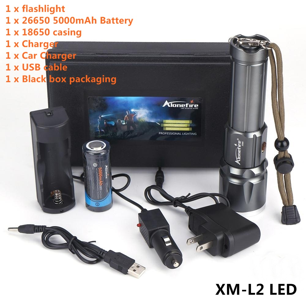 AloneFire X900 High power CREE XM-L2 LED Zoomable LED Flashlight Torch With 26650 Battery USB charge led flashlight torch e17 cree xm l t6 3800 lumens high power focus lamp zoomable light with one battery charger and sleeve
