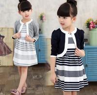 Girls Clothing Sets Autumn Winter Fashion Elegant Round Neck Suit Jacket + dress Suit Kids Clothes Toddler Girl Clothing HB3047