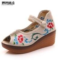 בוהן ציוץ סנדלי נשים קיץ פרחוני רקום סיני נעלי פלטפורמת טריזי סנדלים מזדמנים 5 ס