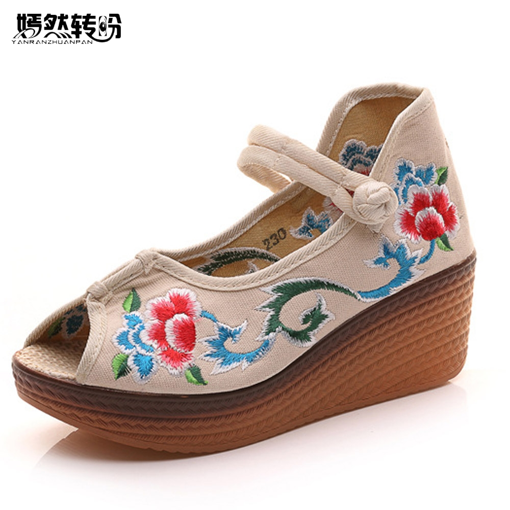 Summer Women Sandals Peep Toe Chinese Floral Embroidered Wedges Platform Shoes For Woman Comfortable Casual Sandals 5cm Heel women sandals 2017 summer shoes woman wedges fashion gladiator platform female slides ladies casual shoes flat comfortable