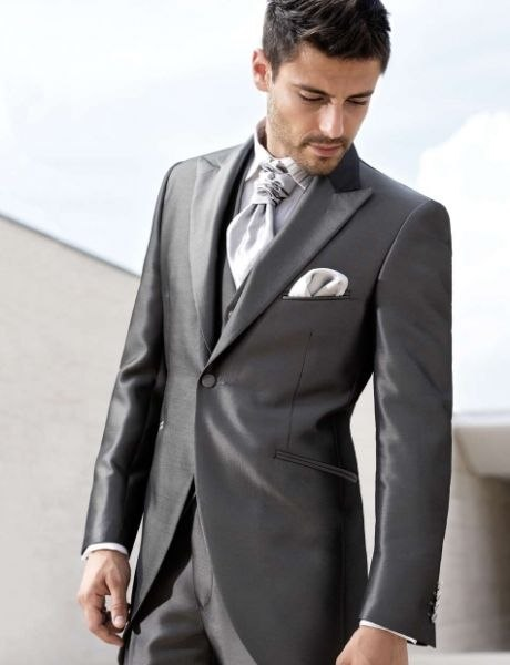 Latest Coat Pant Designs Grey Satin Men Suit Italian Suits Slim Fit Skinny 3 Piece Custom Blazer Prom Tuxedo Terno Masculino