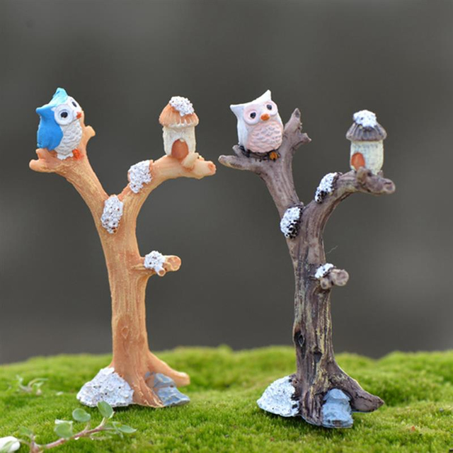 2pcs/lot Cute Owl Tree Miniature Garden Decoration Vintage Cartoon Animals Figurines Fairy Modern Home Decorations Accessories 1